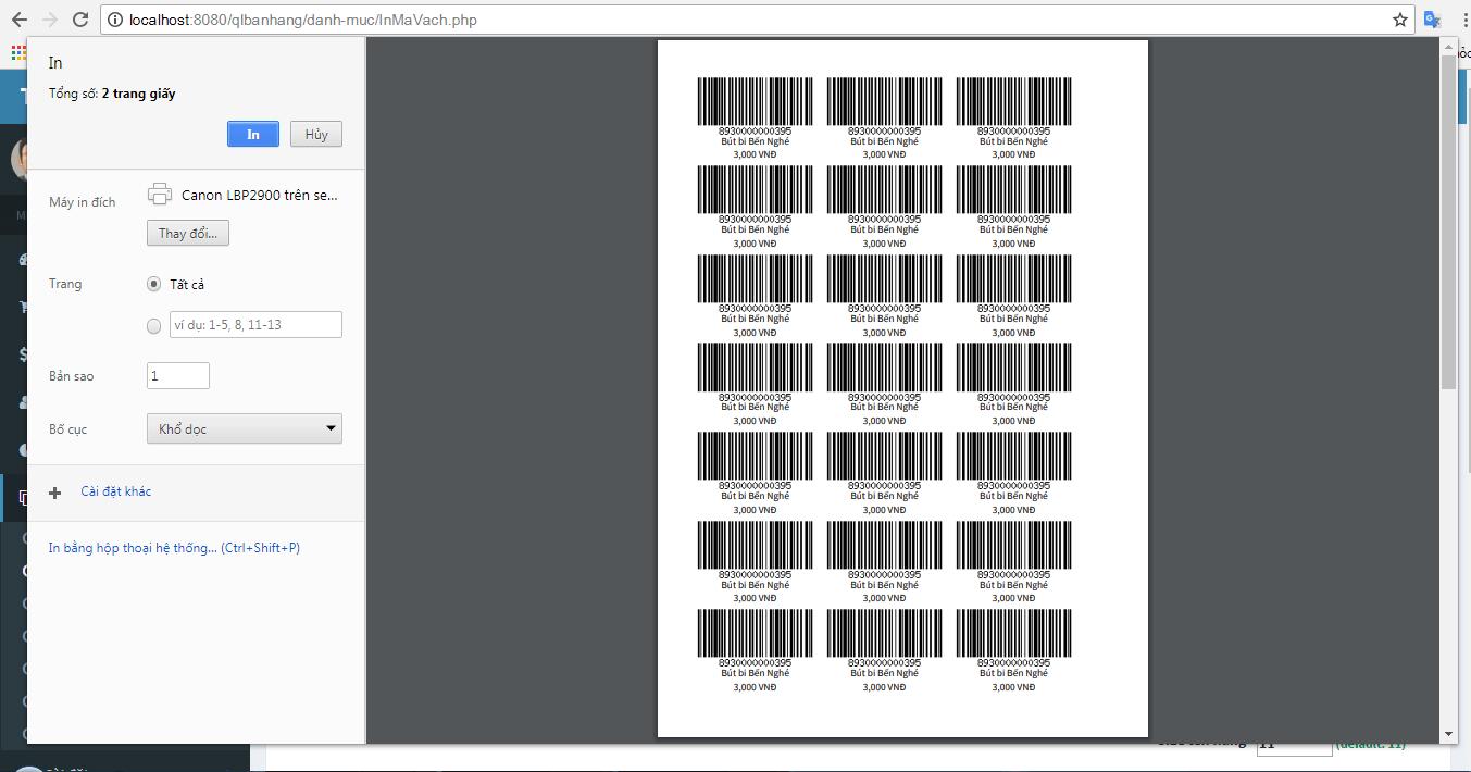 Chức năng in mã vạch (barcode)