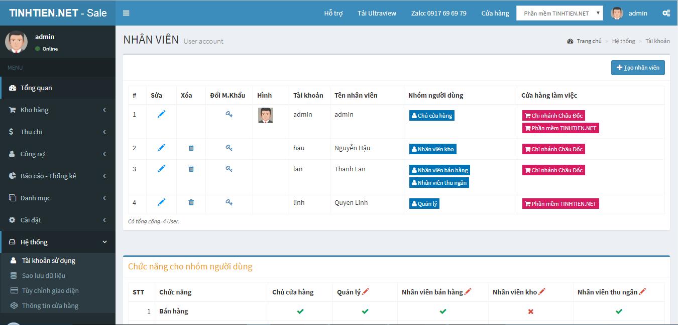 Phân quyền tài khoản nhân viên sử dụng phần mềm