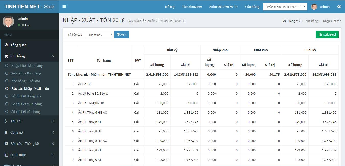 Báo cáo nhập xuất tồn kho trên phần mềm quản lý bán hàng TinhTienNet