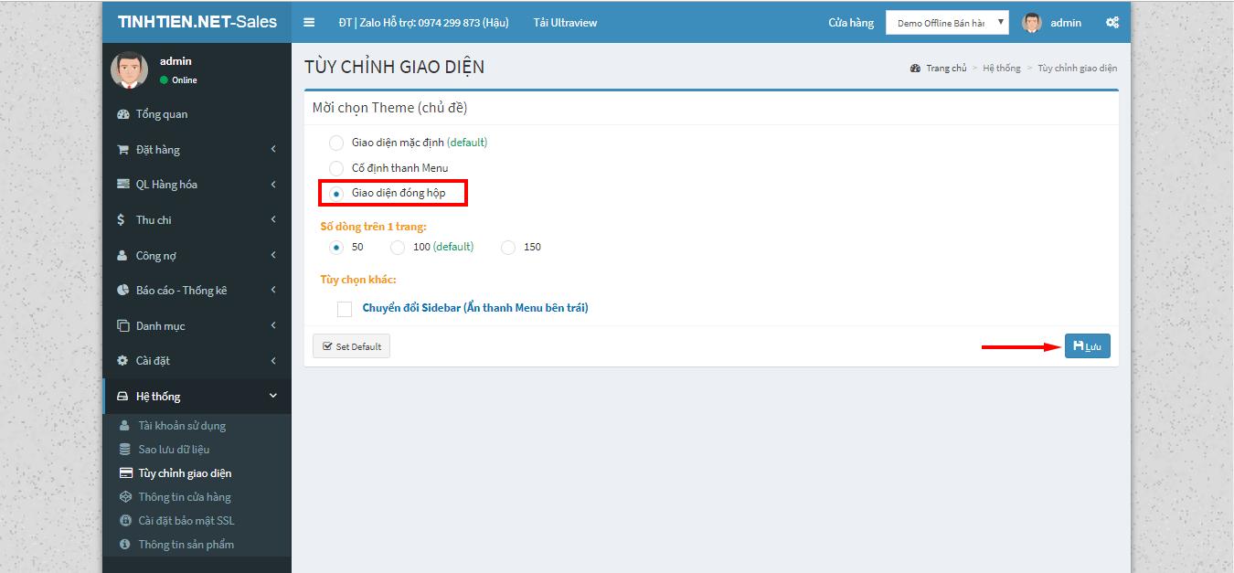 giao diện đóng hộp phần mềm quản lý bán hàng