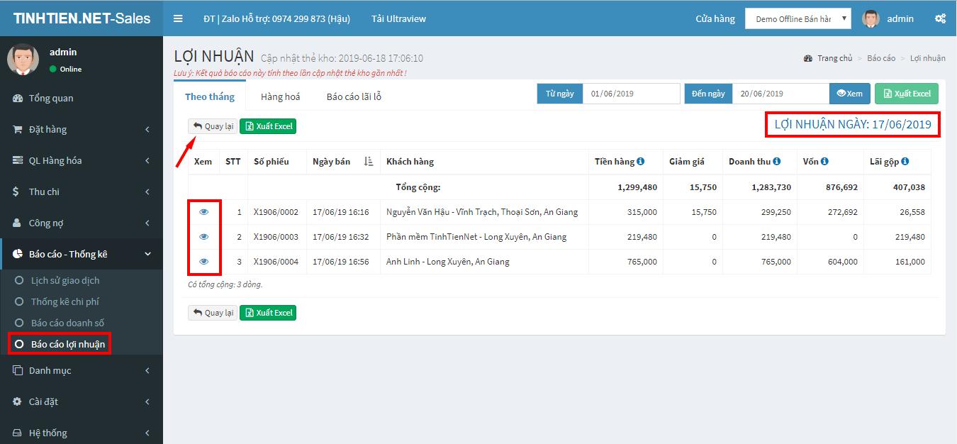 báo cáo lợi nhuận theo ngày