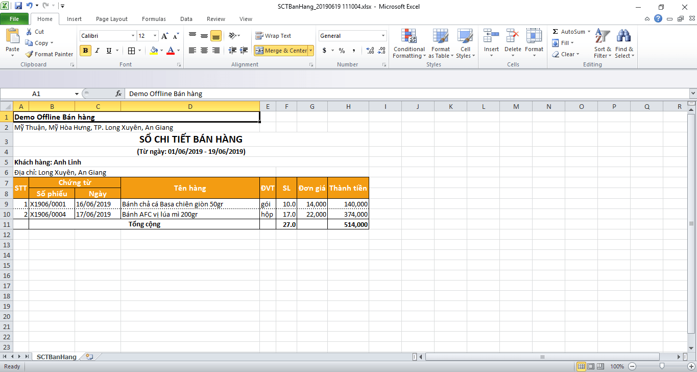 xuất excel sổ chi tiết bán hàng
