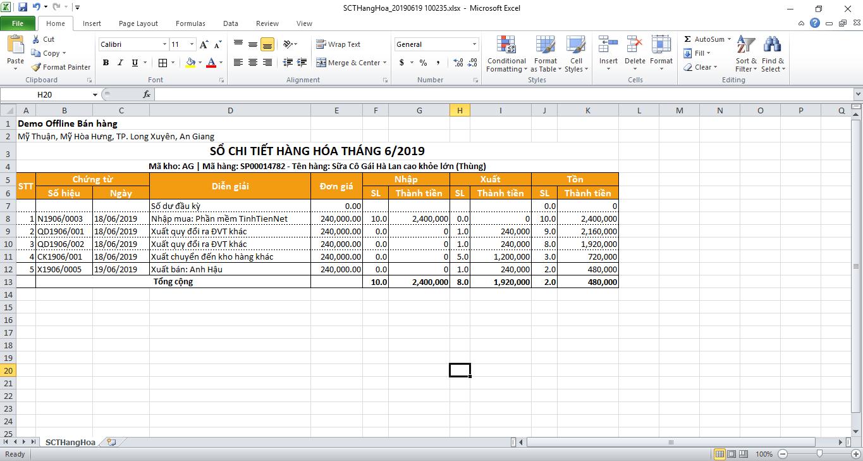 Xuất excel sổ chi tiết hàng hóa