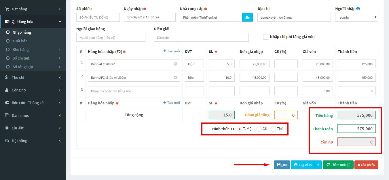 thông tin thanh toán đơn nhập hàng