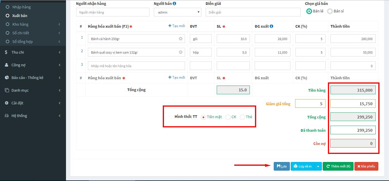 kiểm tra thông tin thanh toán phiếu xuất bán