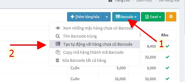 tạo tự động hàng hóa chưa có Barcode