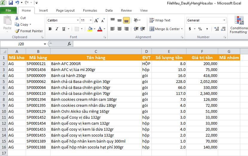 dữ liệu mẫu cần import excel