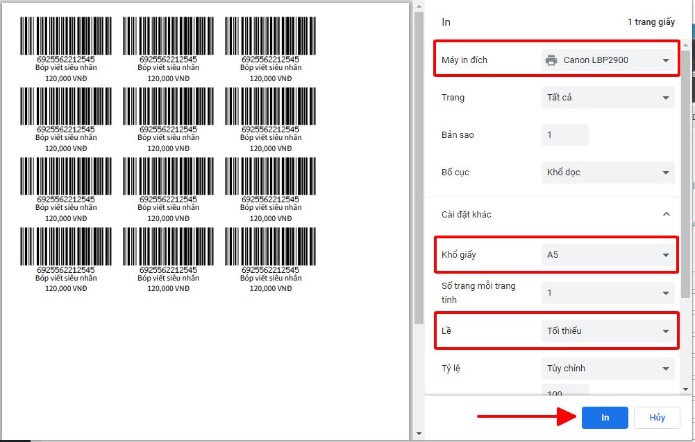 print review barcode (Mã vạch)
